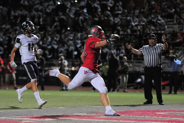 Arbor View fullback Andrew Wagner (42) scores a touchdown during the Arbor View High School Shadow Ridge High School game at Arbor View in Las Vegas is seen on Friday, Sept. 30, 2016. Brett Le Bla ...