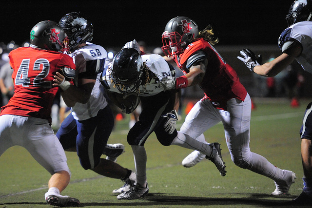 Shadow Ridge running back Elisha Young (2) is stopped short of the goal line during the Arbor View High School Shadow Ridge High School game at Arbor View in Las Vegas is seen on Friday, Sept. 30, ...