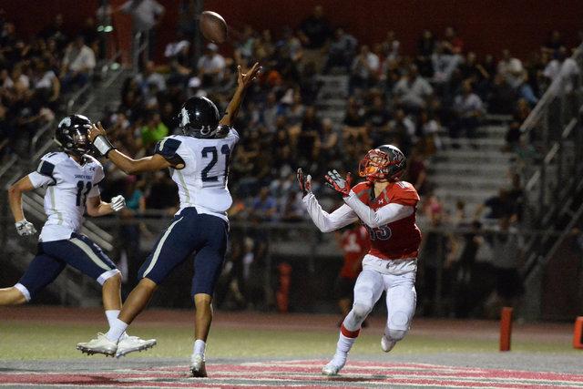 Shadow Ridge cornerback Kaelin Smith-Bejgrowicz (21) knocks a pass away during the Arbor View High School Shadow Ridge High School game at Arbor View in Las Vegas is seen on Friday, Sept. 30, 2016 ...