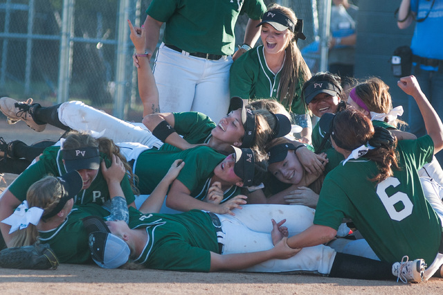 Palo Verde rushes the field after defeating Reed 12-8 to capture the Division I state title on Saturday. (Kevin Clifford/Special to the Review-Journal)