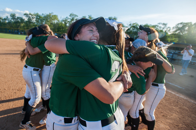 Palo Verde's Kelsea Sweeney, right, and Rachel Williams hug after their team defeated Reed 12-8 to capture the Division I state softball title on Saturday. (Kevin Clifford/Special to the Review-Jo ...