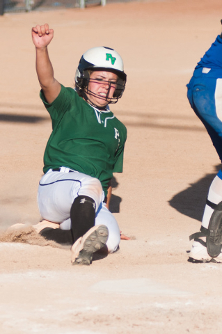 Palo Verde's Jordan Menke slides home and scores against Reed in the deciding game of the Division I state softball tournament on Saturday. Palo Verde won the game 12-8 to win the state title. (Ke ...