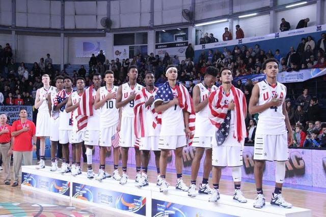 Findlay Prep guard Markus Howard (second from right) averaged 15.0 points, 2.0 assists and 2.0 steals in five games with the USA basketball U16 team that won a gold medal over the weekend in Bahia ...