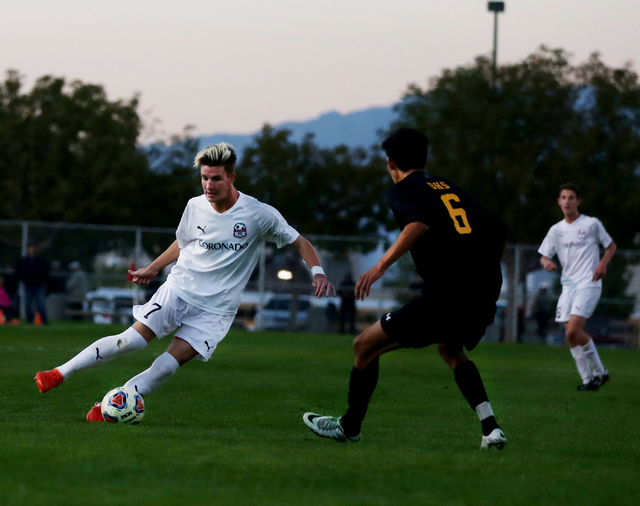Coronado's John Lynam (7) kicks the ball against Durango at the Bettye Wilson Soccer complex during the neutral playoff game Friday, Nov. 11, 2016, in Las Vegas. Coronado defeated Durango 3-2. Eli ...