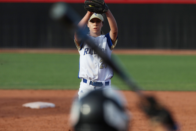 Reed pitcher Julia Jensen throws to Palo Verde during their Division I state tournament game Friday, May 15, 2015 at UNLV. Reed won 2-1 in nine innings. (Sam Morris/Las Vegas Review-Journal) Follo ...