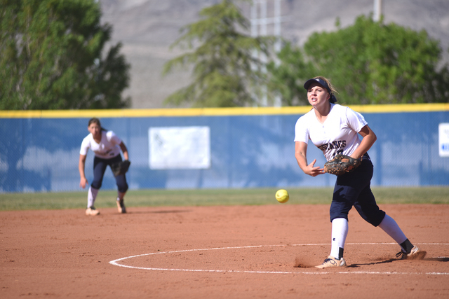 Shadow Ridge's Alisha Schultz (17) pitches against Legacy during their softball game at Shadow Ridge High School in Las Vegas on Wednesday April 15, 2015. (Martin S. Fuentes/Las Vegas Review-Journal)