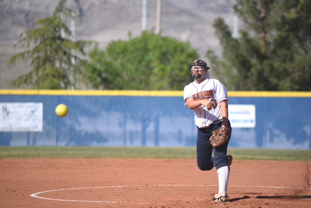 Legacy's haley Pederson (10) pitches against Shadow Ridge during their softball game at Shadow Ridge High School in Las Vegas on Wednesday April 15, 2015. (Martin S. Fuentes/Las Vegas Review-Journal)