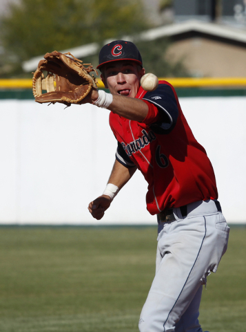 Tanner Bellamy of Coronado fields a grounder during the first round of the Sunrise Region tournament at Rancho. Rancho won, 4-1. (John Locher/Las Vegas Review-Journal)