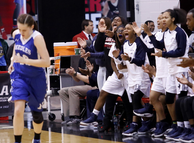 Agassi Prep players react during the second half of a Class 2A girls state final championship game at the Cox Pavilion on Saturday, Feb. 25, 2017, in Las Vegas. Needle won 64-54. (Christian K. Lee ...