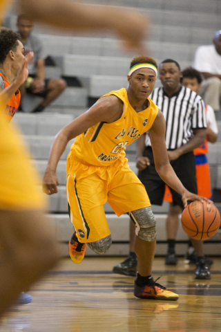 Las Vegas Prospects' Charles O'Bannon Jr. (25) dribbles the ball against Dream Vision in the NY2LA Sports Summer Showndown tournament game at Durango High School on Wednesday, July 20, 2016, in La ...