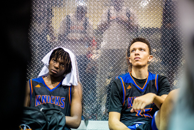 Las Vegas Knicks guard Isaiah Banks, left, and center Darian Scott, listen to feedback after losing against the Iowa Brainstorms in an adidas Uprising Summer Championship game at the Cashman Cente ...