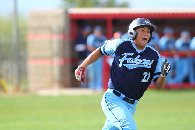 Foothill's Tyler Van Stone runs to first base against Las Vegas High on Thursday. Foothill won the game, 3-0. (Chase Stevens/Las Vegas Review-Journal)