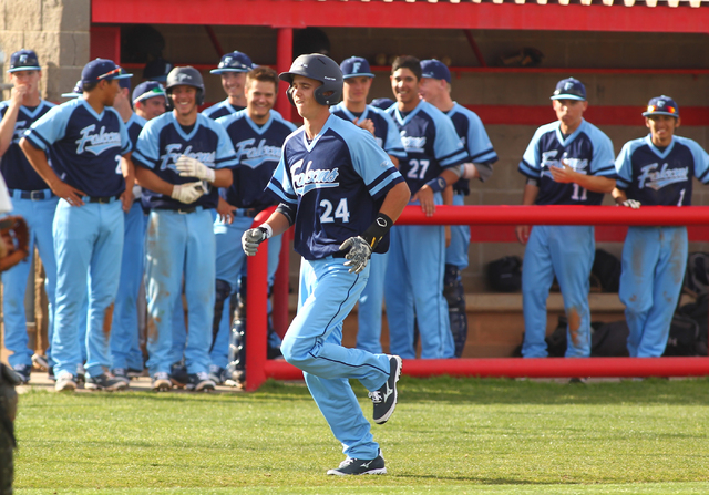 Foothill's Collin Dobrolecki runs the bases after hitting a home run against Las Vegas High on Thursday. Foothill won the game, 3-0. (Chase Stevens/Las Vegas Review-Journal)