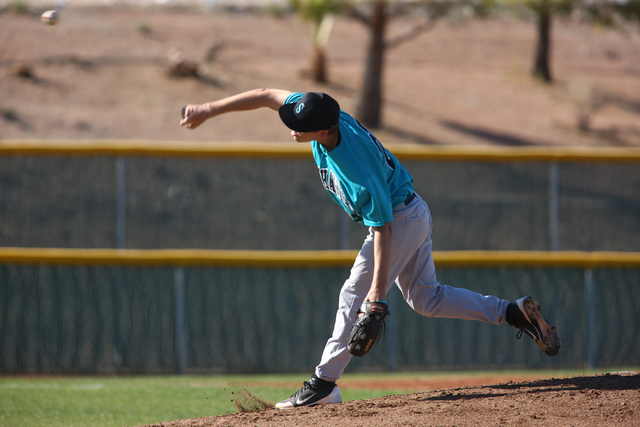 Silverado's Mitchell Ballard (22) pitches against Palo Verde on Friday. Silverado won the game 11-8. (Chase Stevens/Las Vegas Review-Journal)