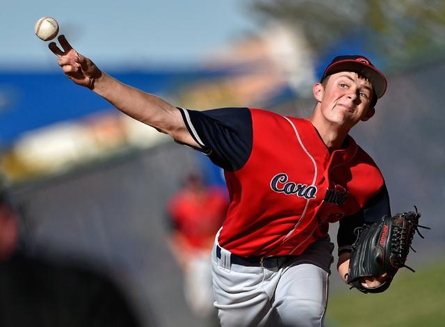 Coronado pitcher Zach Dunham fires the ball against Spring Valley during a high school baseball game at Spring Valley High School on Friday, March 20, 2015, in Las Vegas. (David Becker/Las Vegas R ...