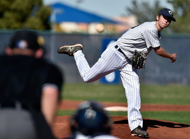 Spring Valley pitcher Joey Melinchok fires the ball against Coronado during a high school baseball game at Spring Valley High School on Friday, March 20, 2015, in Las Vegas. (David Becker/Las Vega ...