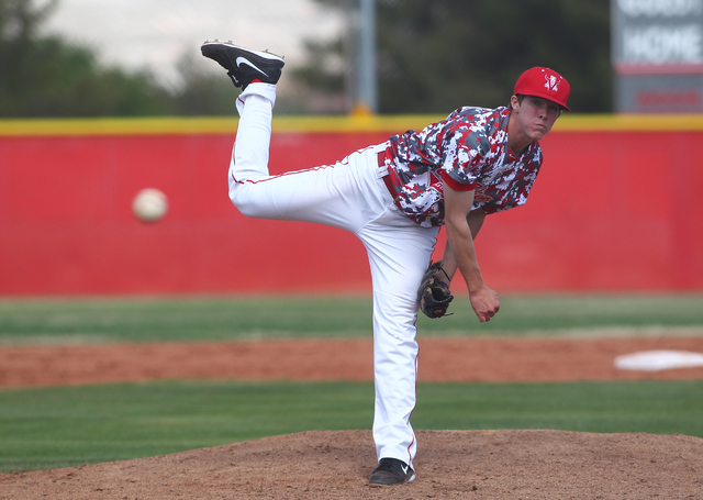 Arbor View's Sam Pastrone pitches against Faith Lutheran last season. The senior right-hander has signed with UNLV. (Chase Stevens/Las Vegas Review-Journal)