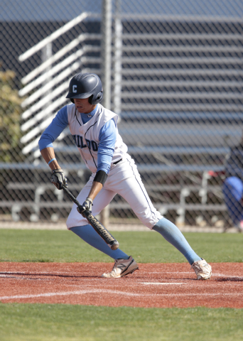 Centennial High School senior Zachary Dixon (3) prepares to bunt during a game against Basic High School at the Centennial baseball field, 10200 W. Centennial Pkwy., Las Vegas, on Tuesday, April 7 ...