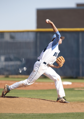 Centennial High School sophomore Kyle Horton (34) pitches during a game against Basic High School at the Centennial High School baseball field, 10200 W. Centennial Pkwy., Las Vegas,  on Tuesday, A ...