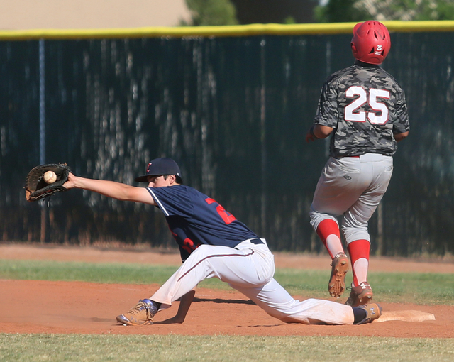 Liberty's Michael Wong left, stretches for a catch to make a double play at first base as Las Vegas' Antonio Gaxiola crosses first base during a baseball game at Liberty High School Tuesday, April ...
