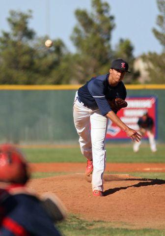 Liberty's Bailey Daguio pitches during a baseball game against Las Vegas at Liberty High School Tuesday, April 21, 2015, in Las Vegas. Liberty won 6-3. (Ronda Churchill/Las Vegas Review-Journal)