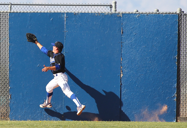 Sierra Vista outfielder Cole Crosby (6) can't track down a fly ball off the bat of Arbor View's Nick Quintana in the third inning on Thursday. Arbor View won, 6-5. (Chase Stevens/Las Vegas Review- ...