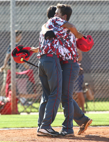 Arbor View's Sid Cutting, right, celebrates his fourth-inning home run with teammate Kaid Urban. The Aggies hit two home runs in a 6-5 win over Sierra Vista. (Chase Stevens/Las Vegas Review-Journal)