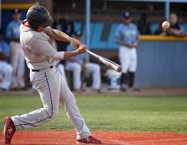 Coronado's Nate Ruiz hits a home run during a baseball game against Centennial at Centennial High School Friday, April 24, 2015, in Las Vegas. (Ronda Churchill/Las Vegas Review-Journal)