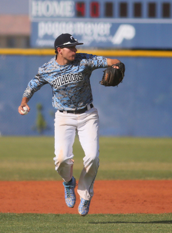 Centennial's Travis Stevens readies to throw the ball during a baseball game against Coronado at Centennial High School Friday, April 24, 2015, in Las Vegas. (Ronda Churchill/Las Vegas Review-Journal)