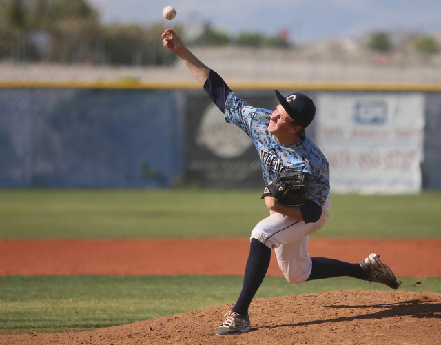 Centennial's Anthony Saccente pitches during a baseball game against Coronado at Centennial High School Friday, April 24, 2015, in Las Vegas. (Ronda Churchill/Las Vegas Review-Journal)
