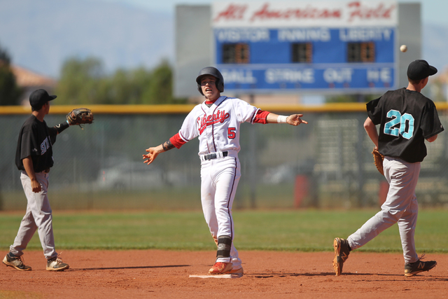 Liberty's Nick Rush (5) celebrates a double in the first inning against Silverado in their baseball game at Liberty High School in Henderson Monday, April 27, 2015. Liberty won 4-1. (Erik Verduzco ...