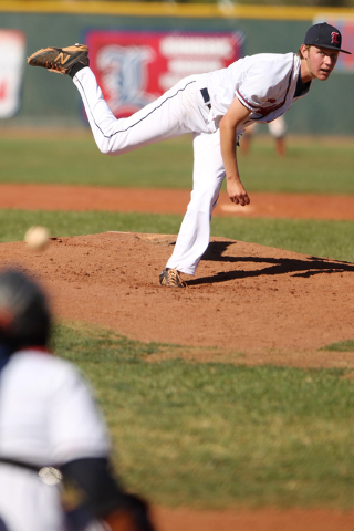 Liberty's pitcher Jacob Klein (17) throws against Silverado in their baseball game at Liberty High School in Henderson Monday, April 27, 2015. Liberty won 4-1. (Erik Verduzco/Las Vegas Review-Jour ...