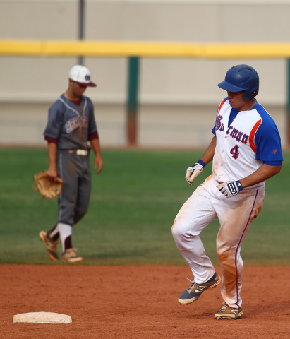 Bishop Gorman's Brandon Wulff (4) rounds second base after hitting his 10th home run of the season on Monday against Cimarron-Memorial. Wulff was 3-for-3 with a double, a homer and four RBIs as th ...