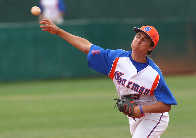 Bishop Gorman's Antonio Rainone (5) makes a throw in the fifth inning against Cimarron-Memorial on Monday. The Gaels won, 9-4. (Chase Stevens/Las Vegas Review-Journal)