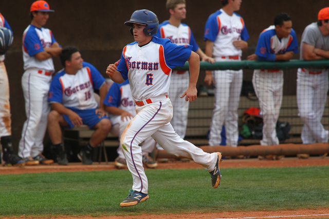 Bishop Gorman's Beau Capanna (6) races home to score a run in the third inning against Cimarron-Memorial. The Gaels won, 9-4. (Chase Stevens/Las Vegas Review-Journal)