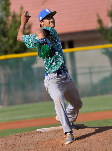 Green Valley pitcher Keola Paragas threw eight complete games this season and was honored with the Review-Journal's player of the year award. (David Becker/Las Vegas Review-Journal)