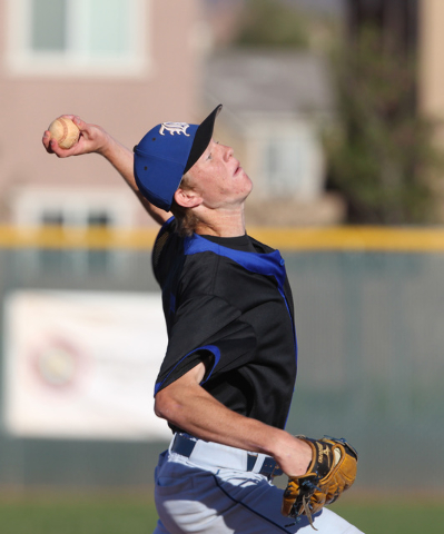 Basic pitcher Tanner Roundy throws to a Liberty batter during their game Thursday, March 19, 2015, at Liberty. (Sam Morris/Las Vegas Review-Journal)
