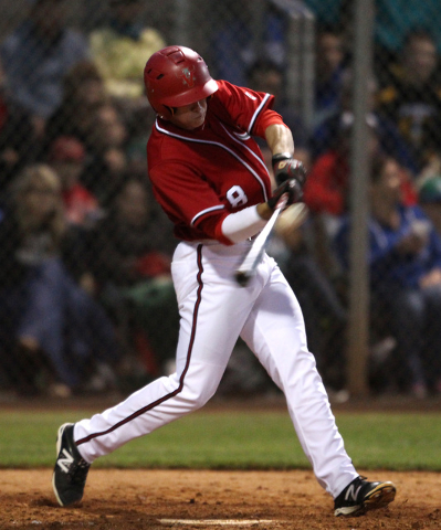 Arbor View's Sam Pastrone connects with a two-run home run against Green Valley during their Division I baseball game Thursday, May 14, 2015 at Durango. Arbor View won the game 7-1. (Sam Morris/La ...
