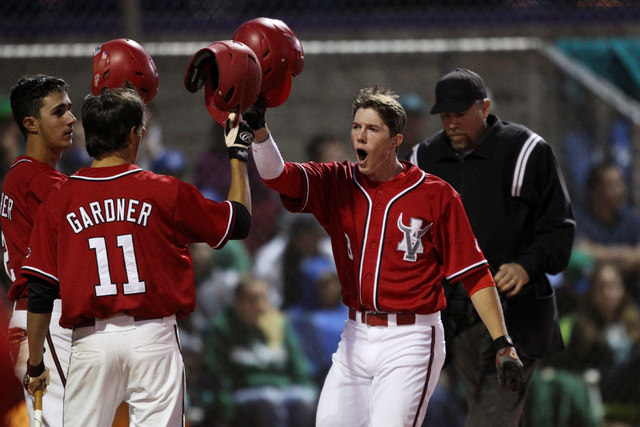 Arbor View's Sam Pastrone celebrates his two-run home run against Green Valley during their Division I baseball game Thursday, May 14, 2015 at Durango. Arbor View won the game 7-1. (Sam Morris/Las ...