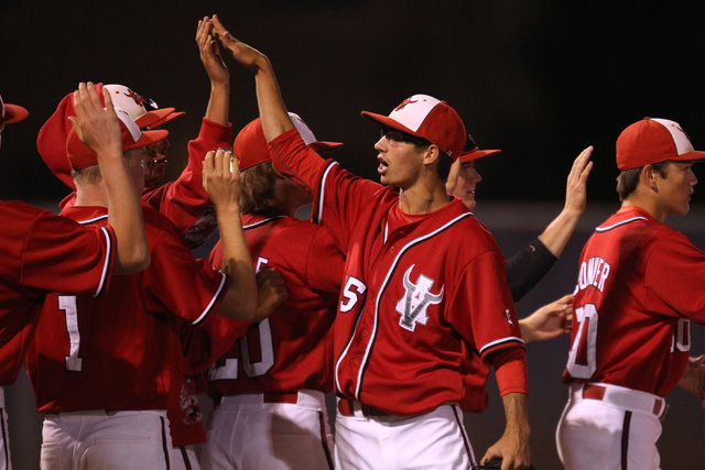 Arbor View pitcher Ben Cutting celebrates with teammates after defeating Green Valley during their Division I baseball game Thursday, May 14, 2015 at Durango. Arbor View won the game 7-1. (Sam Mor ...