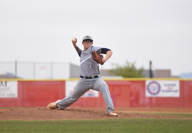 Shadow Ridge's Nick Parr (7) pitches against Arbor View during their baseball game played at Arbor View's Pat Haden baseball field in Las Vegas on Thursday, April 7, 2015. Arbor View defeated Shad ...