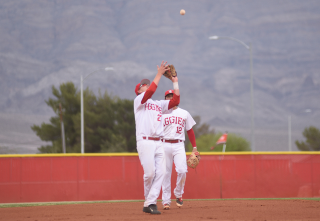 Arbor View's Austin Pfeifer (27) catches a pop fly for an out against Shadow Ridge during their baseball game played at Arbor View's Pat Haden baseball field in Las Vegas on Thursday, April 7, 201 ...