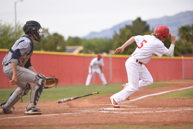 Arbor View's Brandon Stevens (5) runs to first base after a hit against Shadow Ridge during their baseball game played at Arbor View's Pat Haden baseball field in Las Vegas on Thursday, April 7, 2 ...