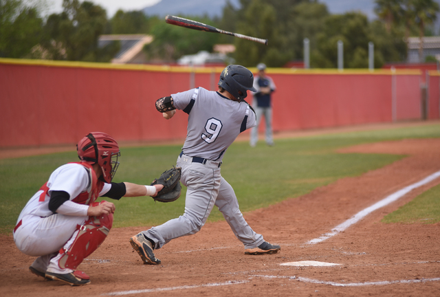 Shadow Ridge's Justin Lee (9) loses his bat after swinging at a pitch against Arbor View during their baseball game played at Arbor View's Pat Haden baseball field in Las Vegas on Thursday, April  ...