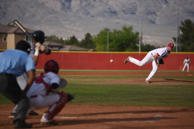 Arbor View's Jaxson Sproul (28) pitches against Shadow Ridge during their baseball game played at Arbor View's Pat Haden baseball field in Las Vegas on Thursday, April 7, 2015. Arbor View defeated ...