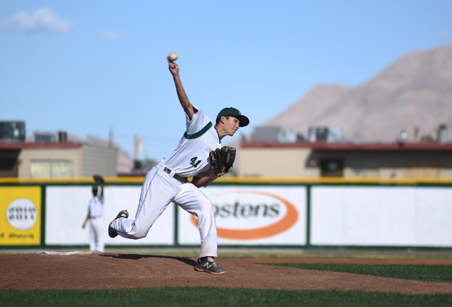Rancho's Layton Walls (41) pitches against Basic during their baseball game played at Rancho High School's baseball field in Las Vegas on Friday, April 1, 2016. Rancho defeated Basic 2-0. (Martin  ...