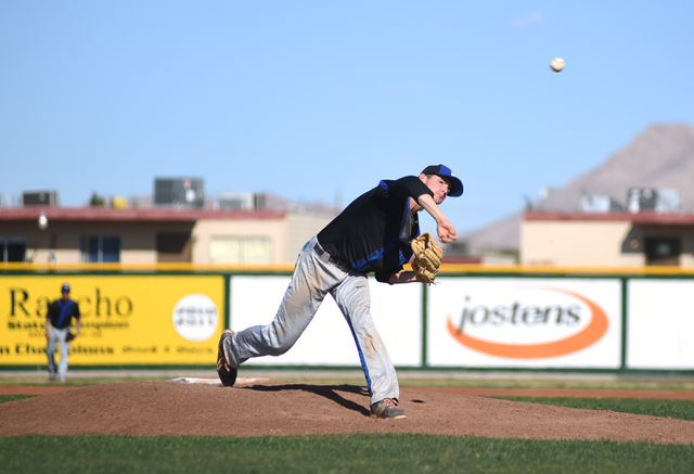 Basic's Ryne Nelson (29) pitches against Rancho during their baseball game played at Rancho High School's baseball field in Las Vegas on Friday, April 1, 2016. Rancho defeated Basic 2-0. (Martin S ...