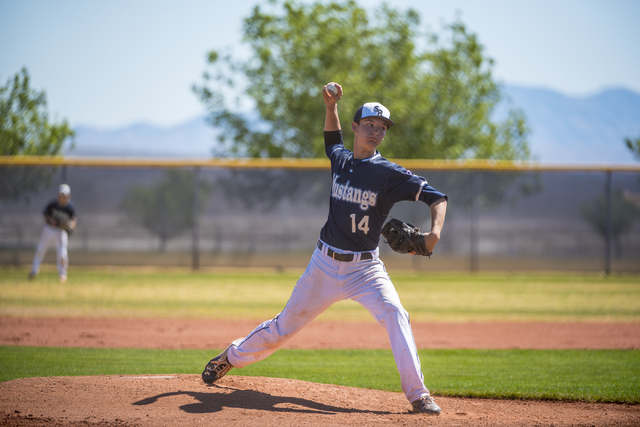 Shadow Ridge pitcher Jesse Meyer pitches to Desert Oasis at Shadow Ridge High School in Las Vegas on Saturday, April 2, 2016. Desert Oasis won the game, 5-4. Joshua Dahl/Las Vegas Review-Journal