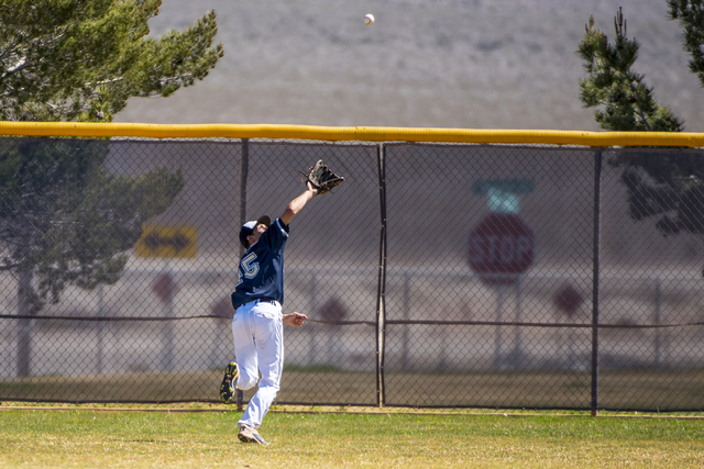 Shadow Ridge outfielder Koby Millner catches a fly ball against Desert Oasis at Shadow Ridge High School in Las Vegas on Saturday, April 2, 2016. Desert Oasis won the game, 5-4. Joshua Dahl/Las Ve ...