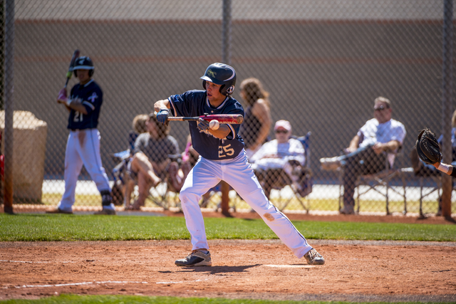 Shadow Ridge outfielder Koby Millner bunts against Desert Oasis at Shadow Ridge High School in Las Vegas on Saturday, April 2, 2016. Desert Oasis won the game, 5-4. Joshua Dahl/Las Vegas Review-Jo ...